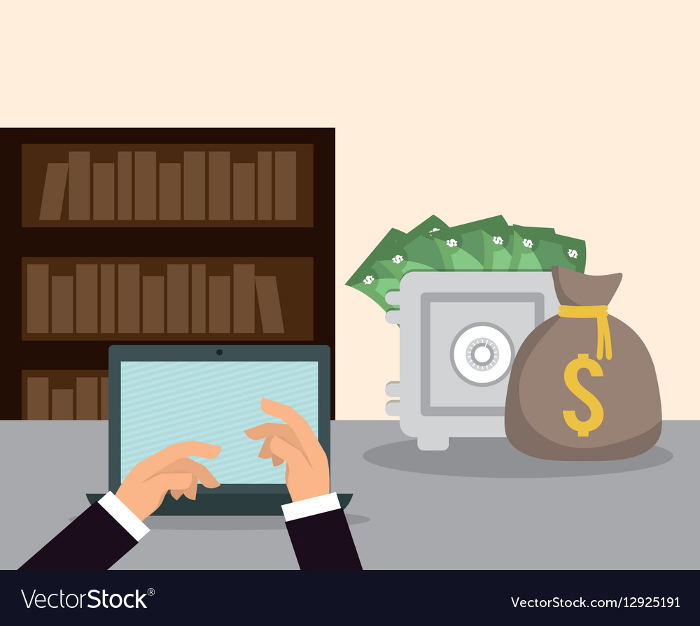 Hands Laptop Money Safe Box Bookshelf Workspace Vector Image