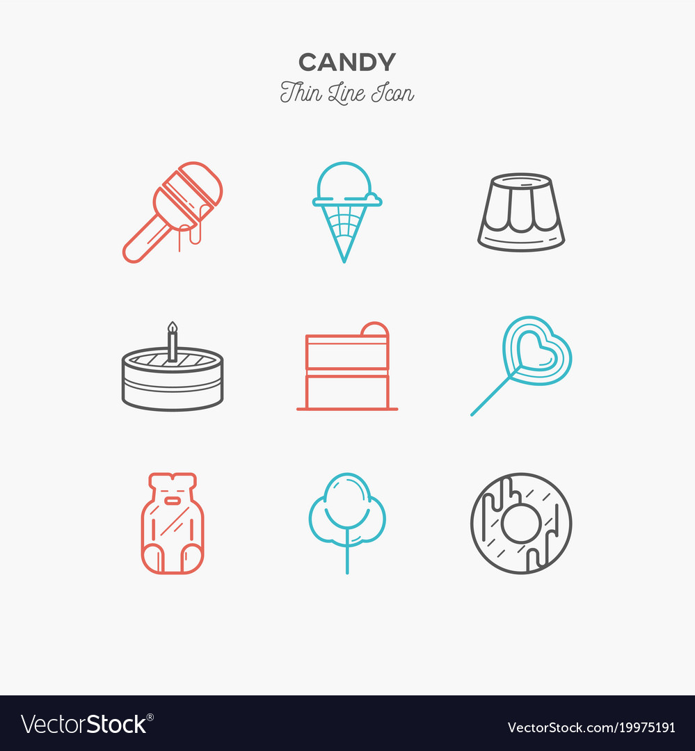 Line icons of candy products from cake and sweets