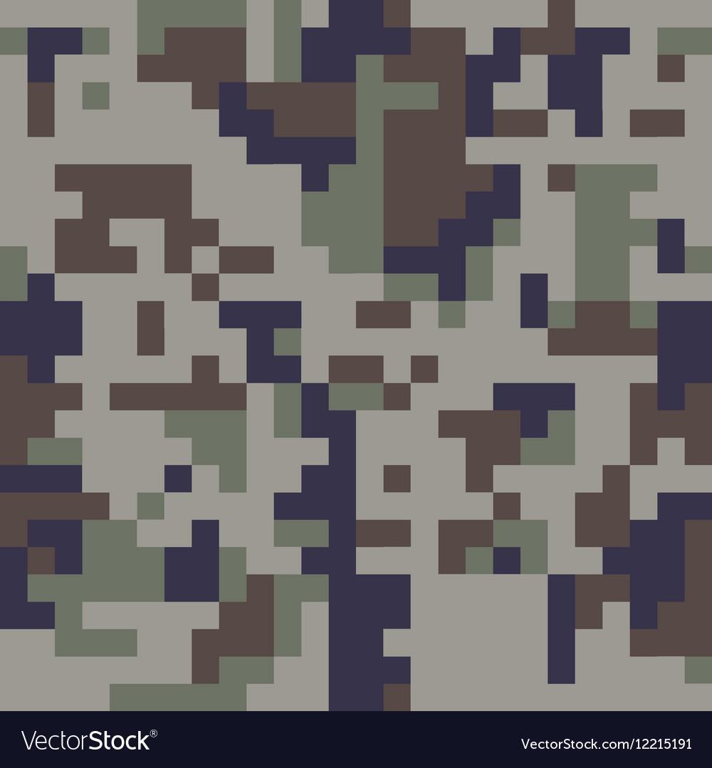 Pixel camo seamless pattern Blue camouflage