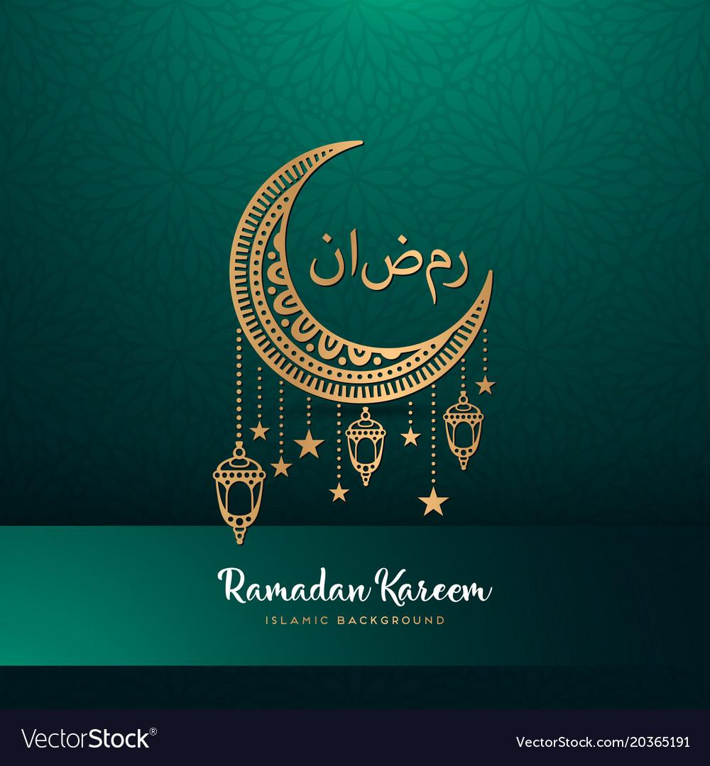 Ramadan Kareem Greeting Card Design With Mandala Vector Image
