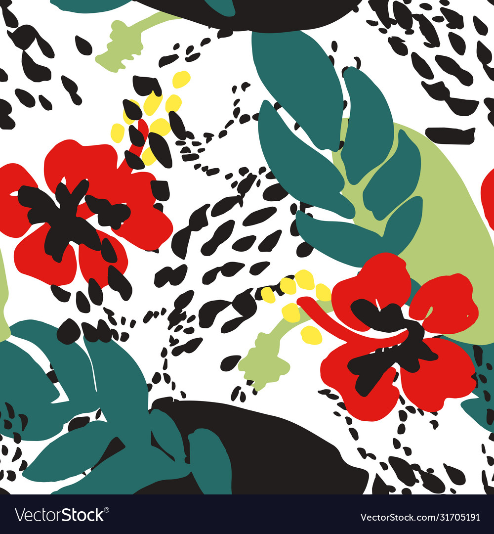 Red poppies and leaves against abstract background