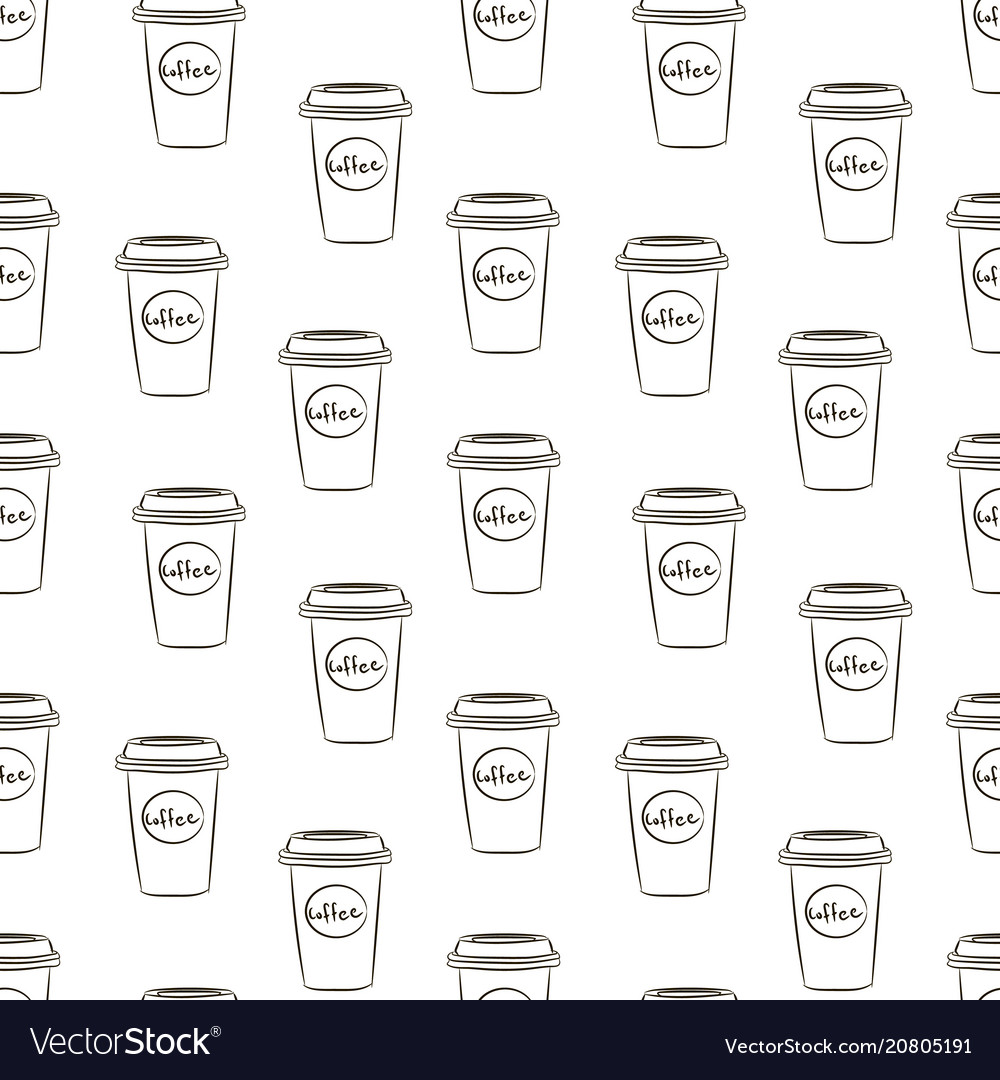 Seamless pattern with hand drawn sketchy coffee