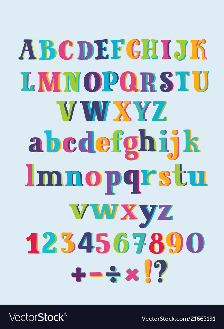 Vintage alphabet cute hand drawn letters vector