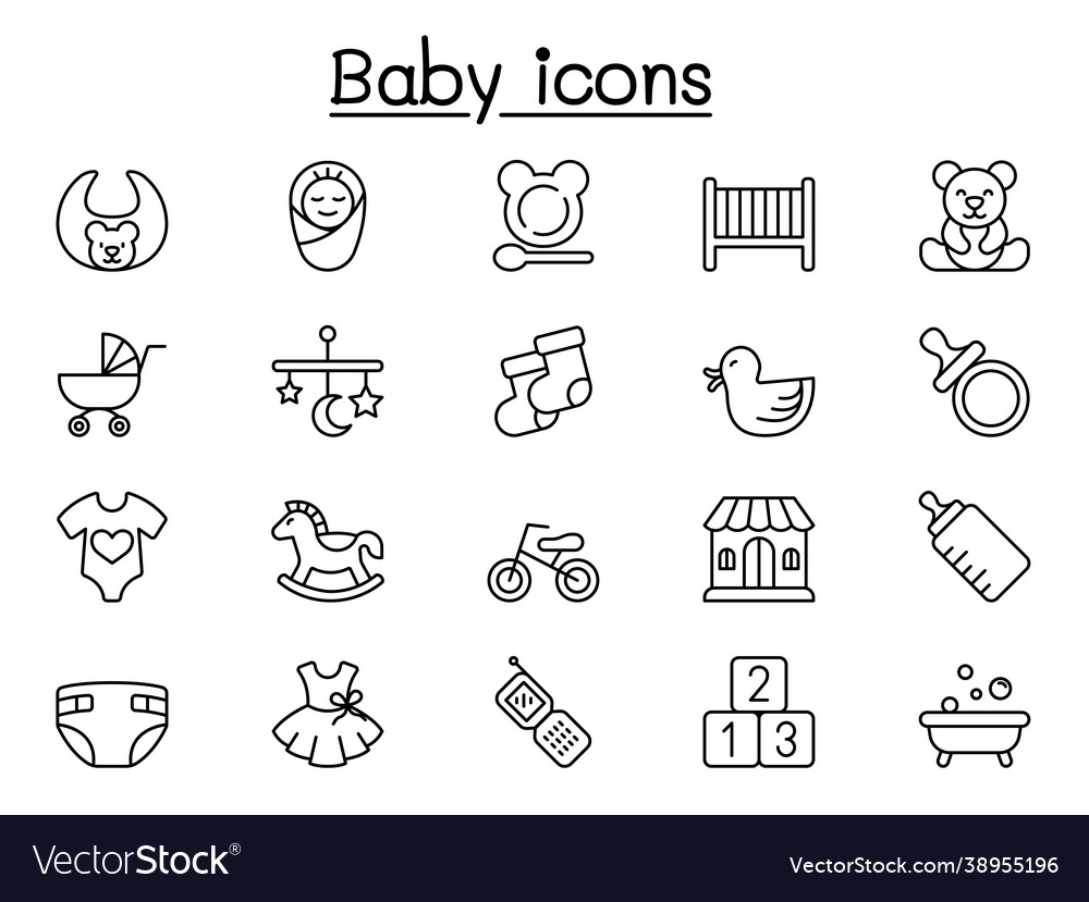 Baby icon in thin line style