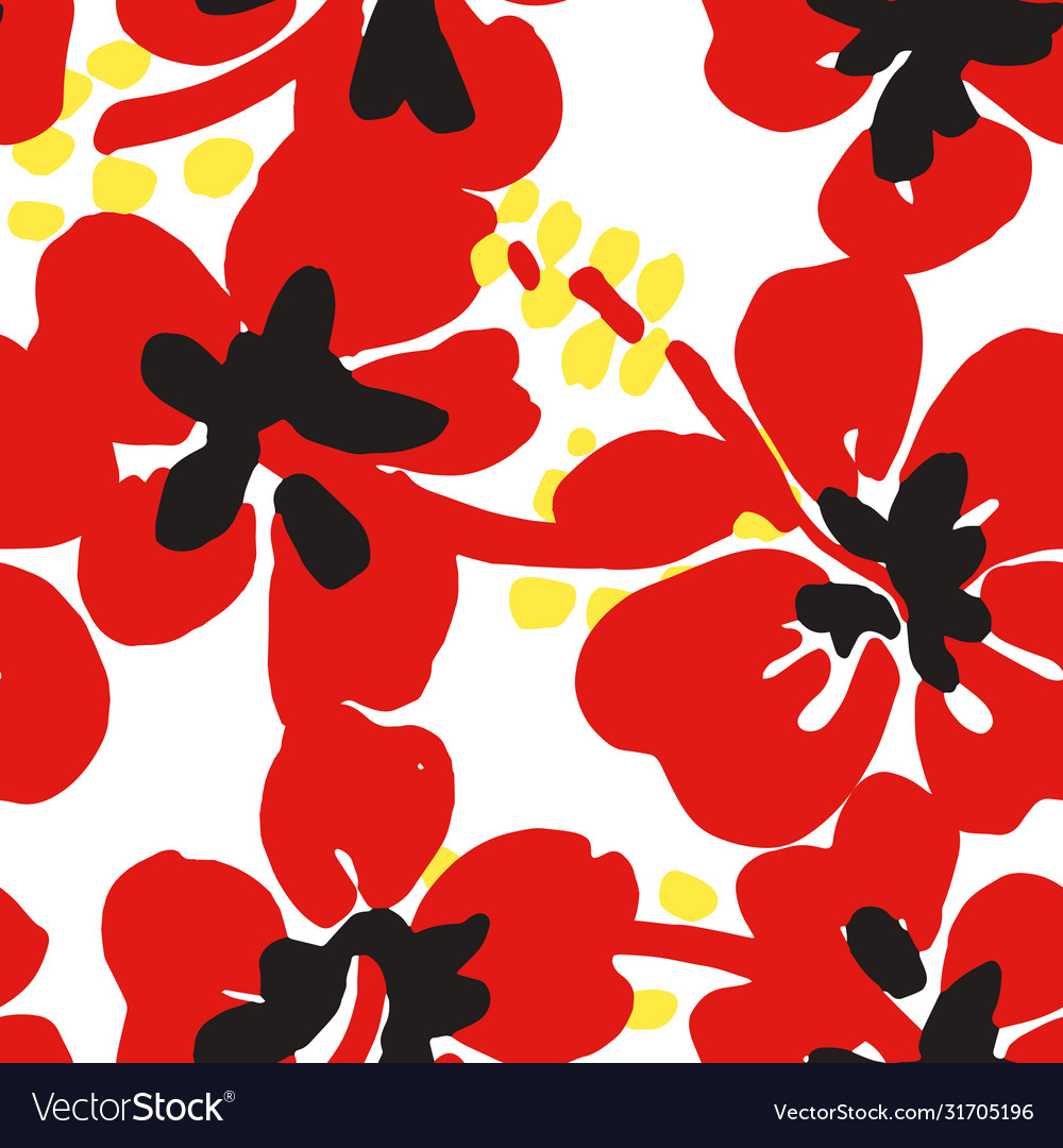 Blooming poppies seamless pattern summer flowers