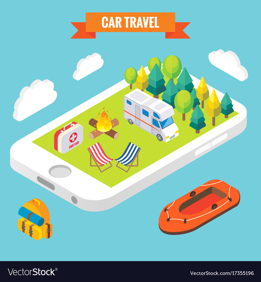 Car travel isometric objects on mobile phone