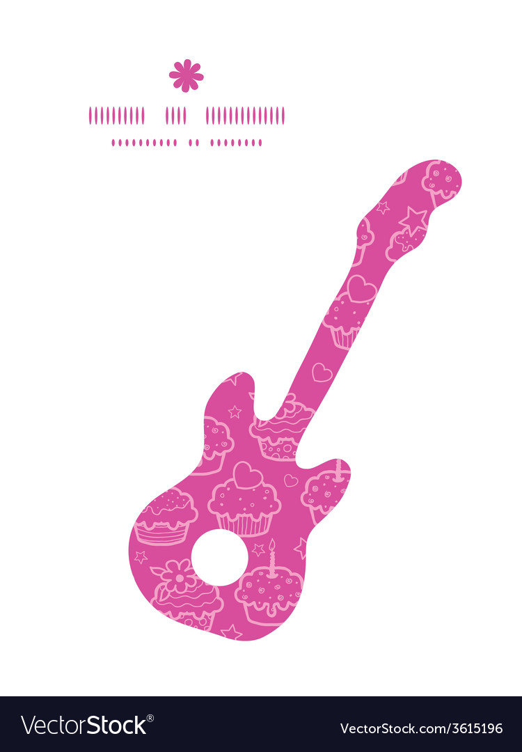 Colorful cupcake party guitar music silhouette vector image
