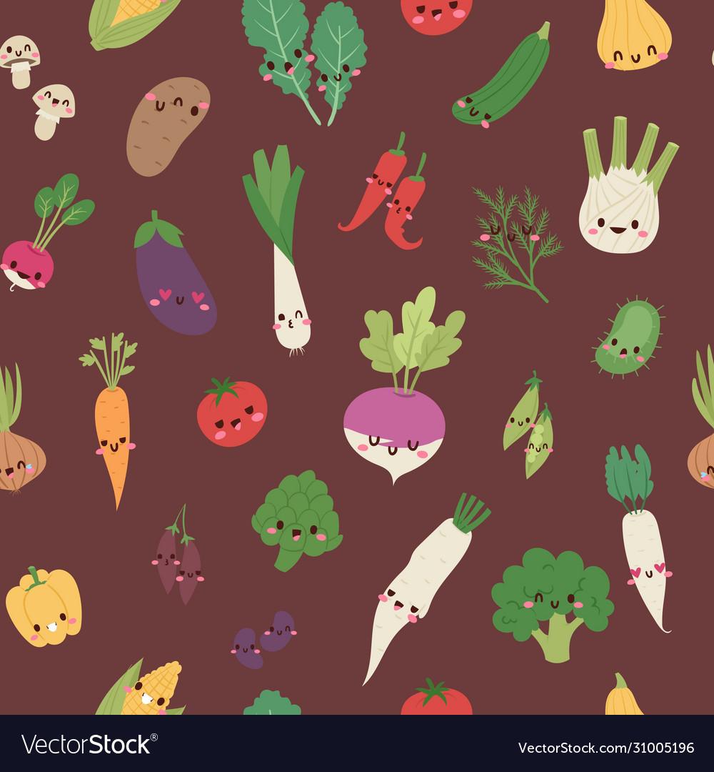 Cute kawaii vegetables mix with broccoli carrot