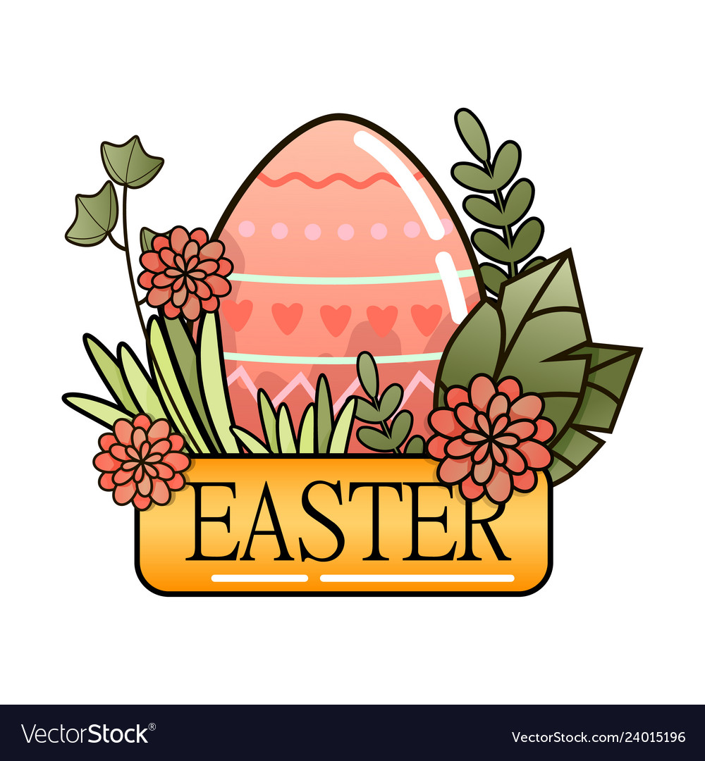 Decorative easter eggs on green grass