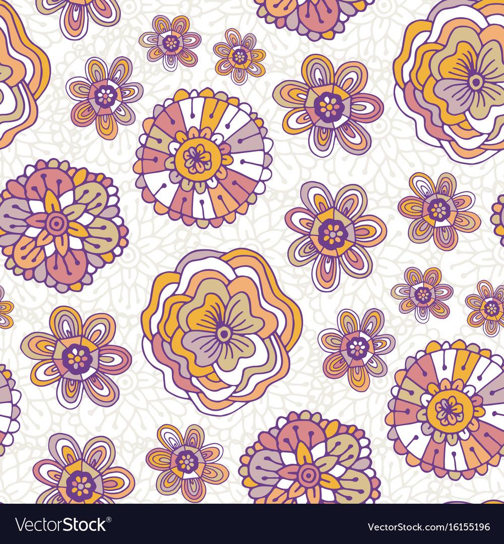 Doodle Floral Pattern Boho Background For Vector Image