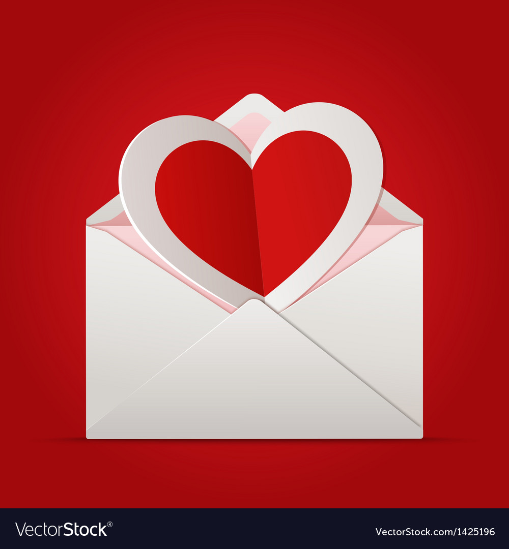 Envelope with paper heart inside