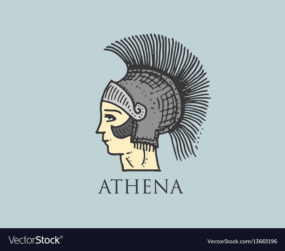 Godness athena logo ancient greece antique symbol