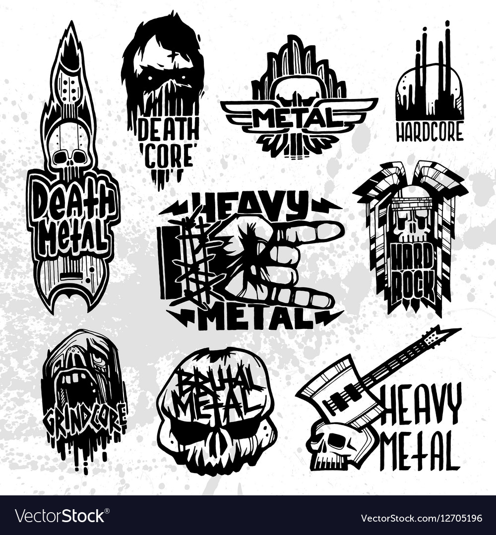 Heavy rock music badge set