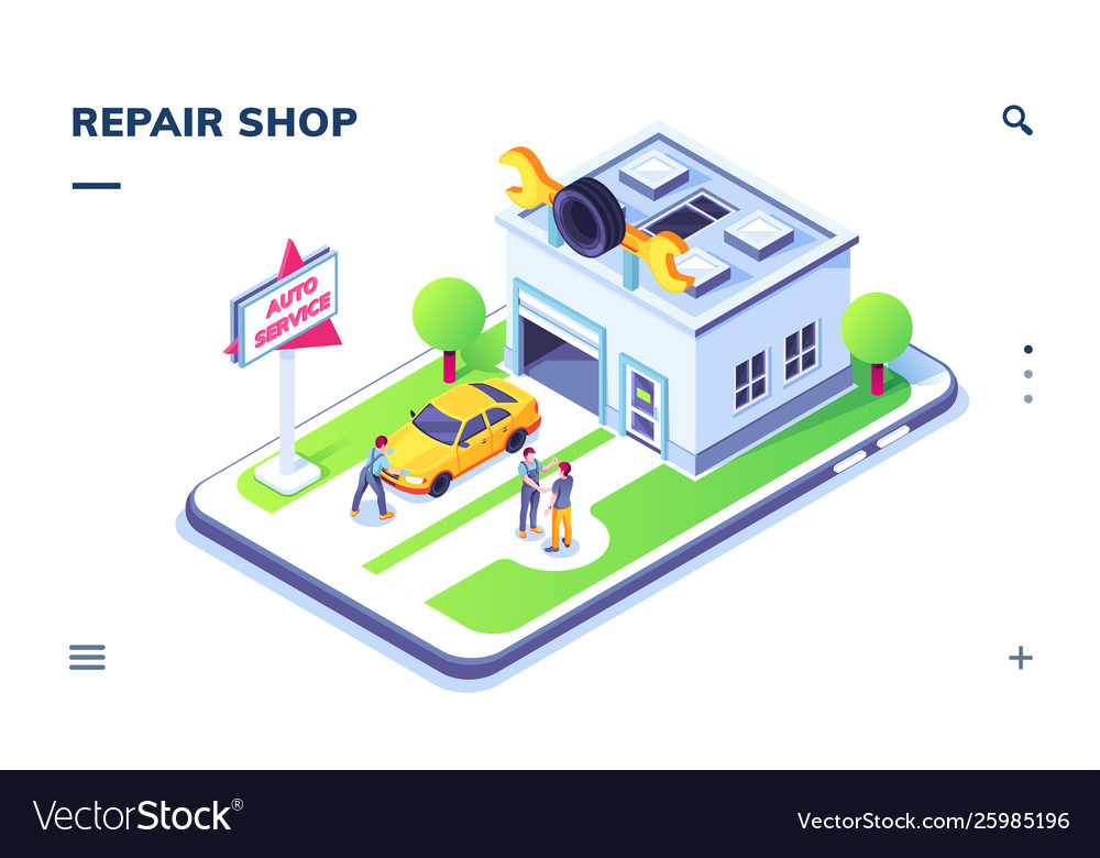 Isometric car service with auto and mechanic man