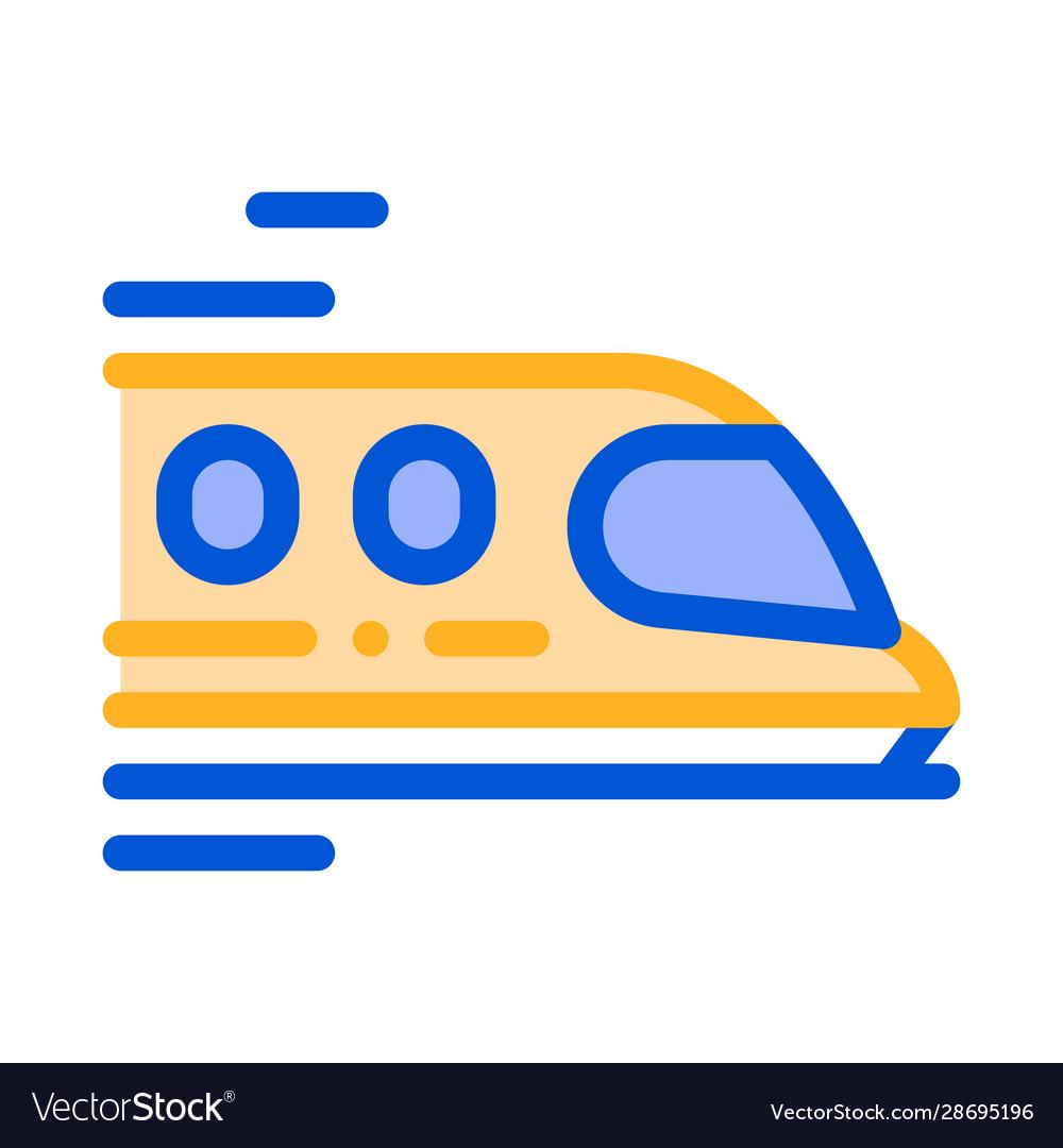 Public transport train thin line sign icon