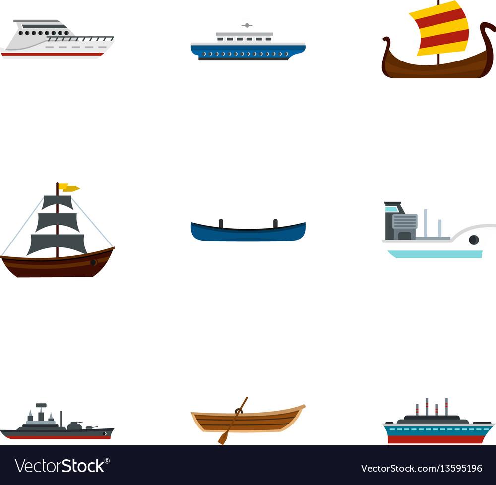Sea transport icons set flat style