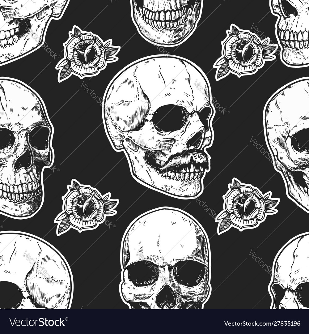 Seamless pattern with skulls and roses design