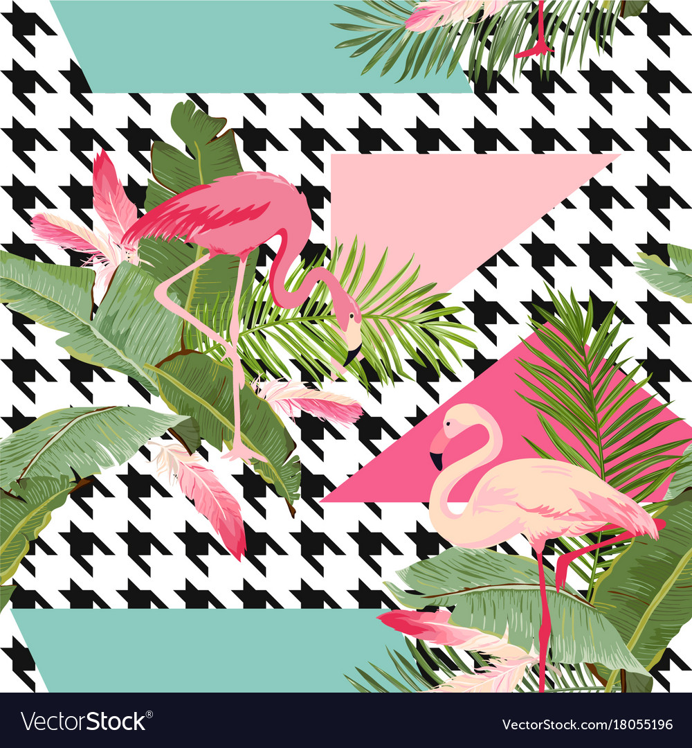 Seamless tropical flowers and flamingo pattern