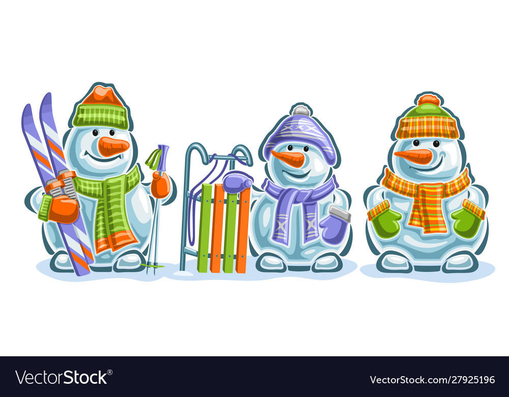 Set cute snowmans