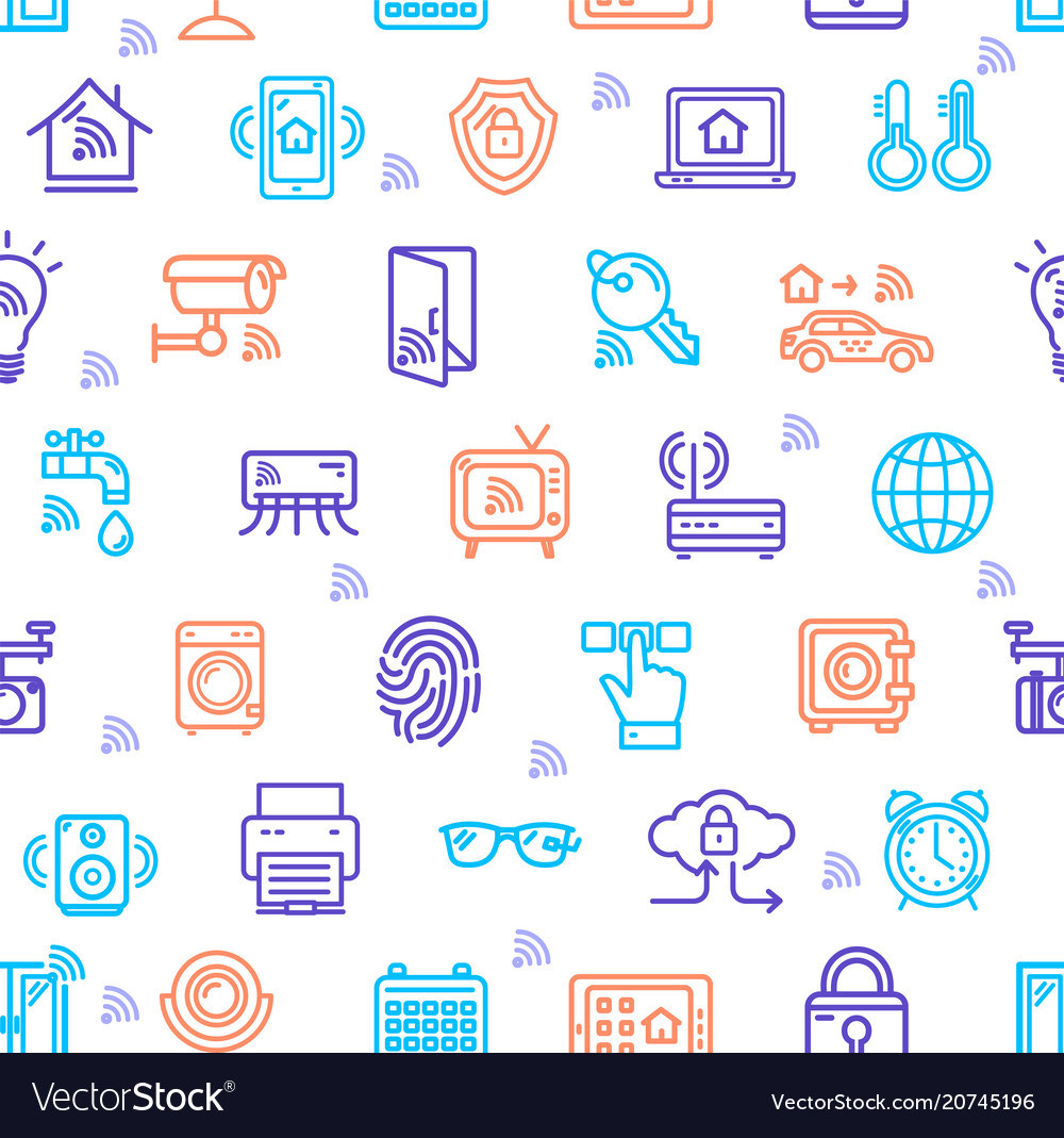 Smart home signs seamless pattern background