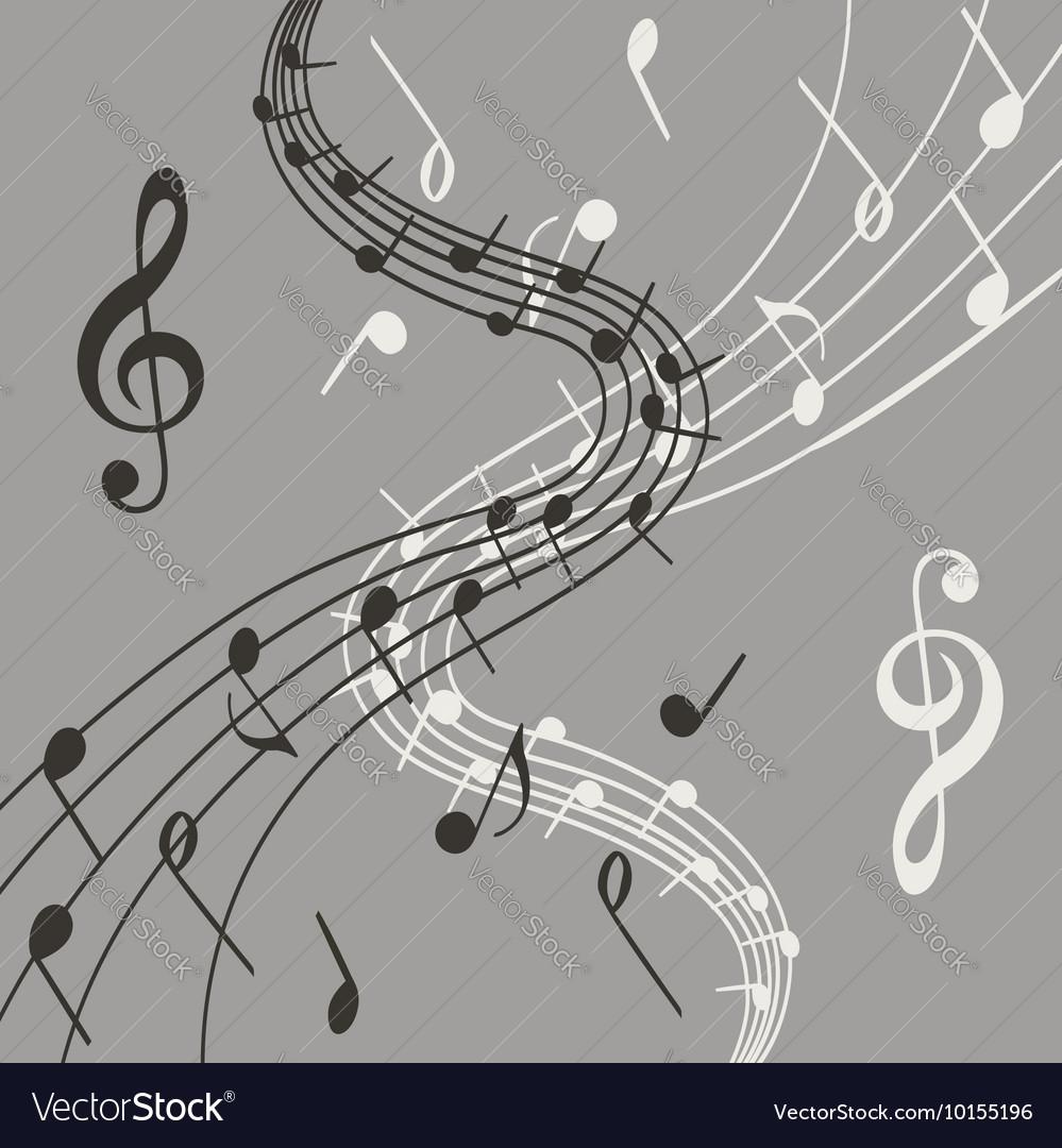 Stylish of music notes on grey