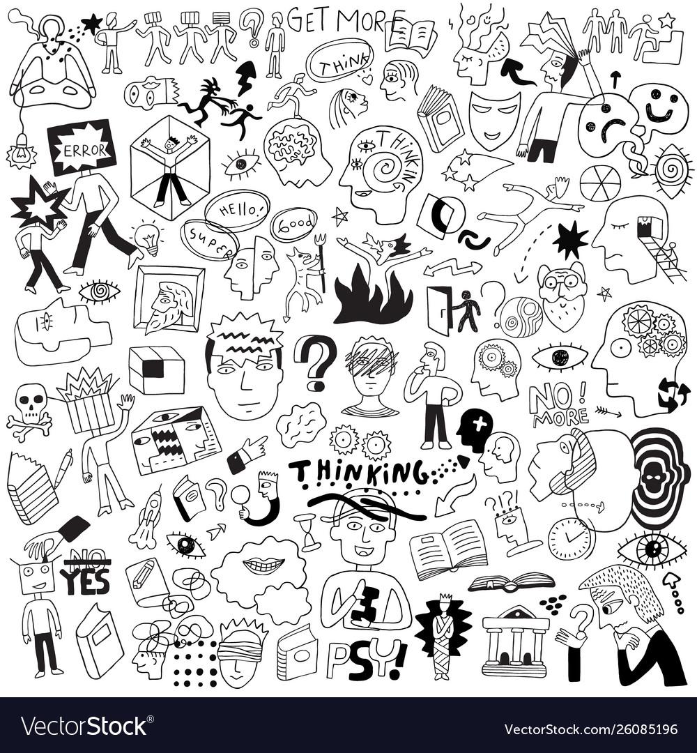 Thinking psychology sick people -big doodle set