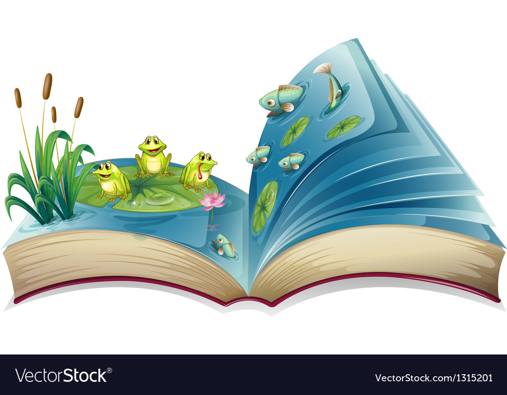 A book with an image of the frogs and fishes in vector image
