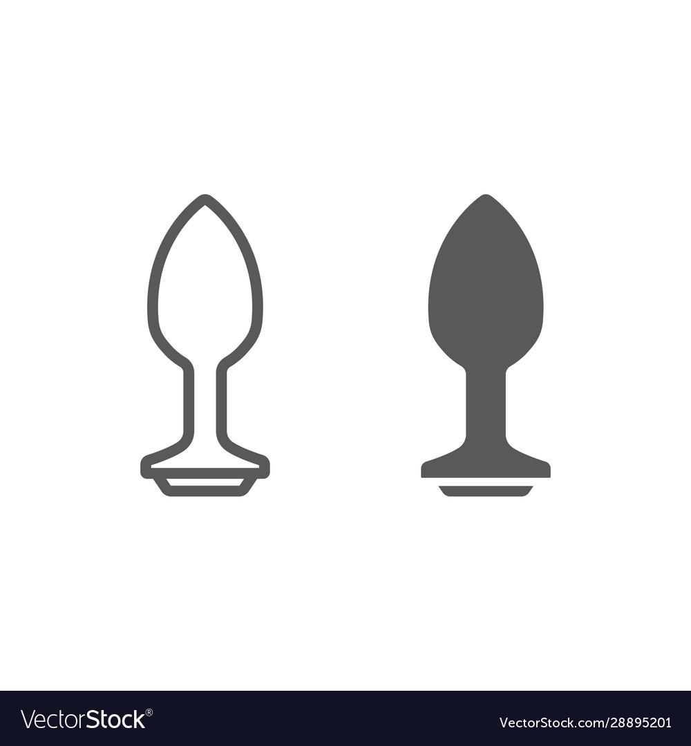 Analplug anal plug line and glyph icon sex toy and adult