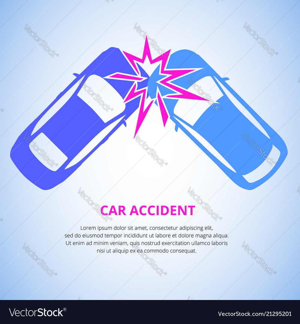 Car crash car accident top view isolated on a