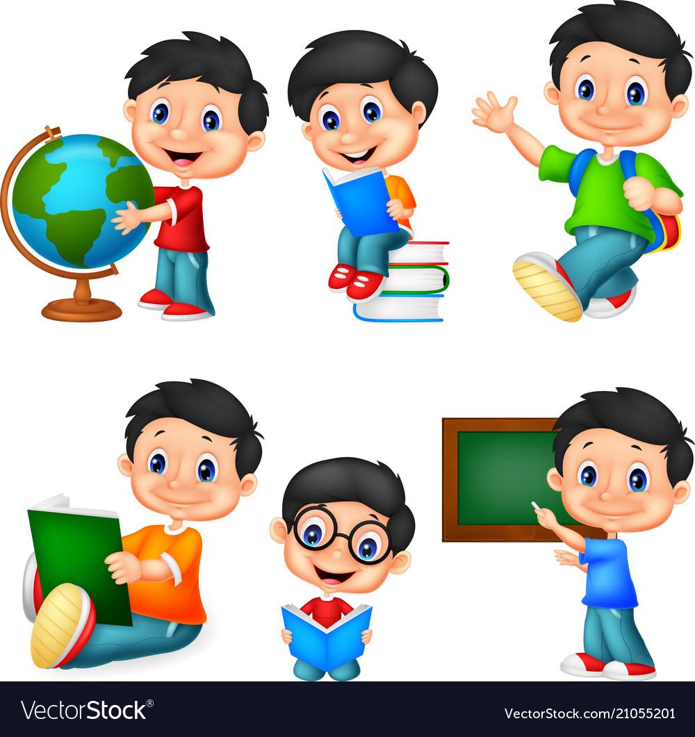 Cartoon little boy collection set