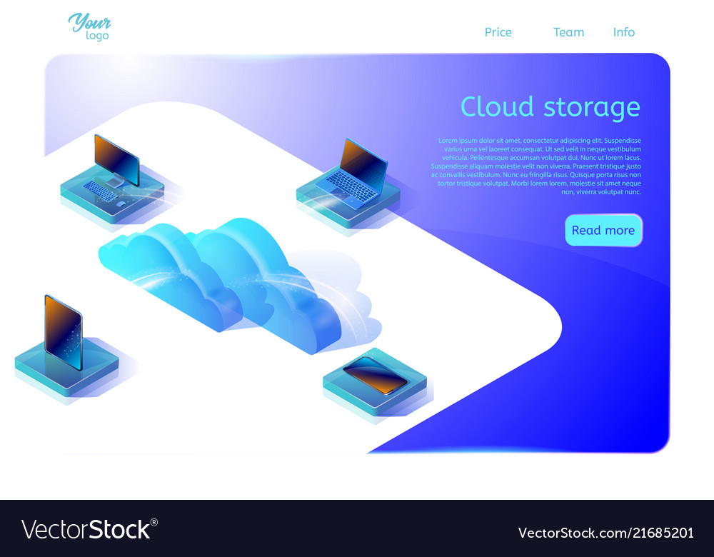 Cloud data storage web page template for web