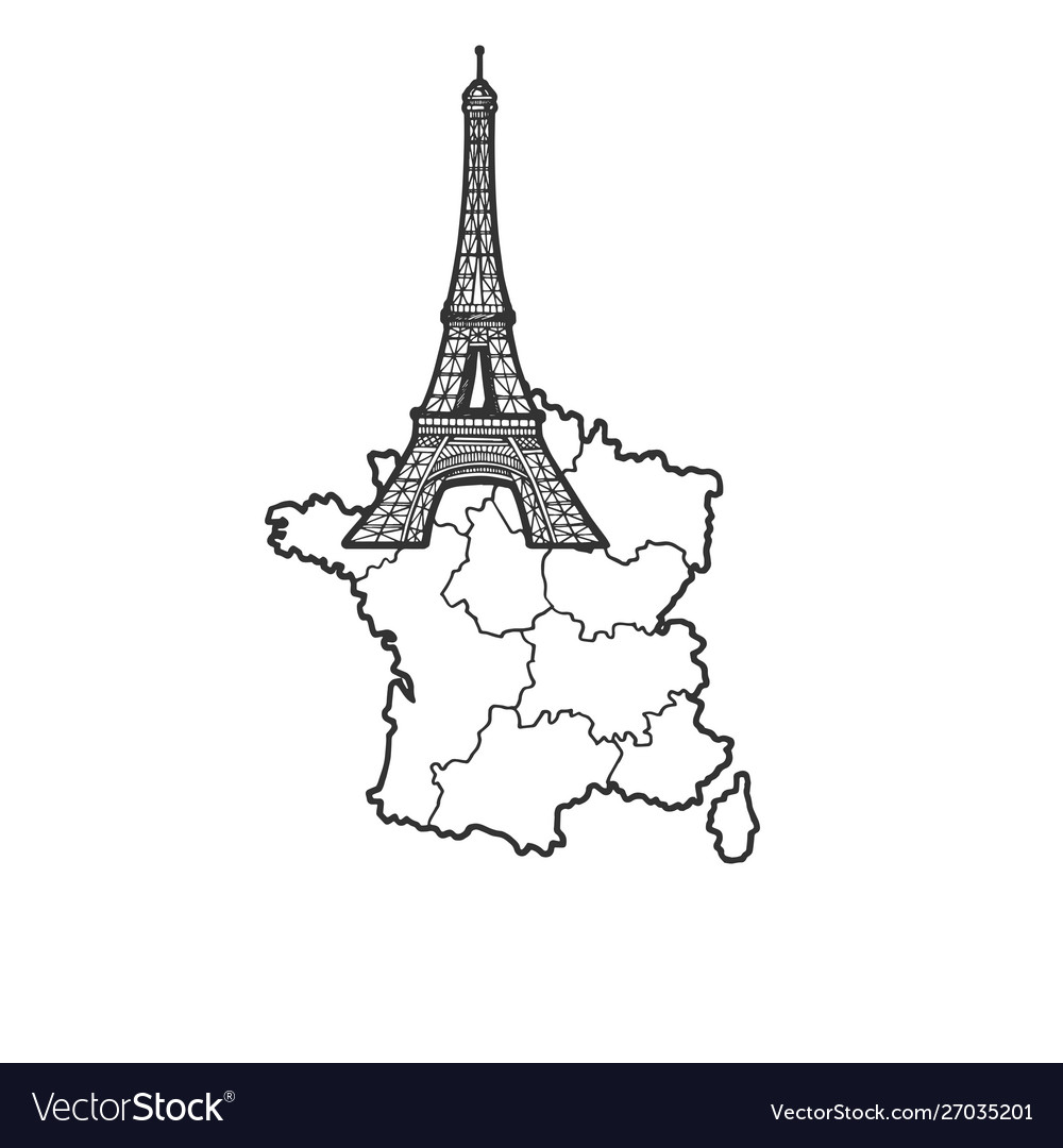 France map and eiffel tower sketch