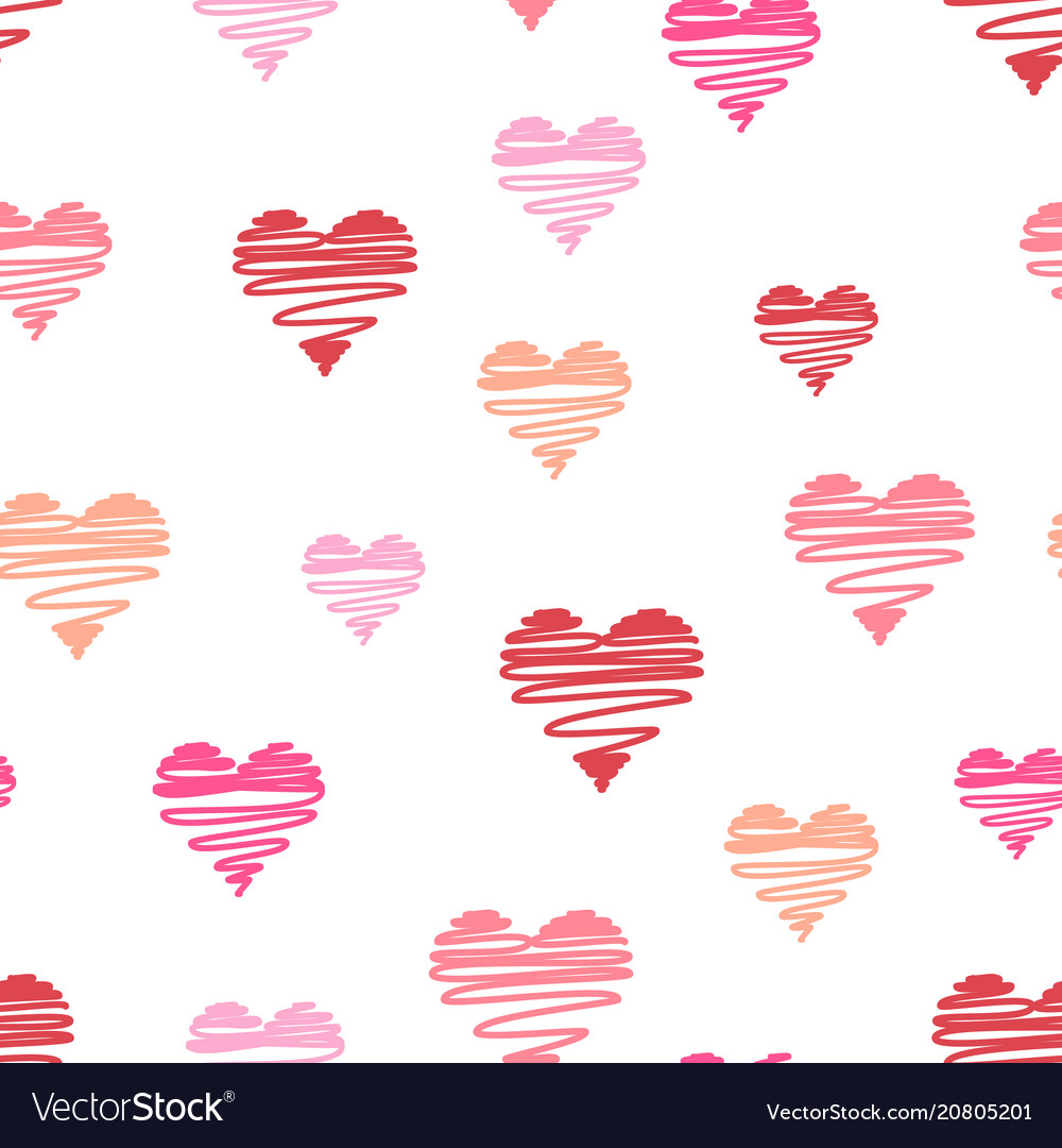 Hand-drawn doodle hearts seamless pattern