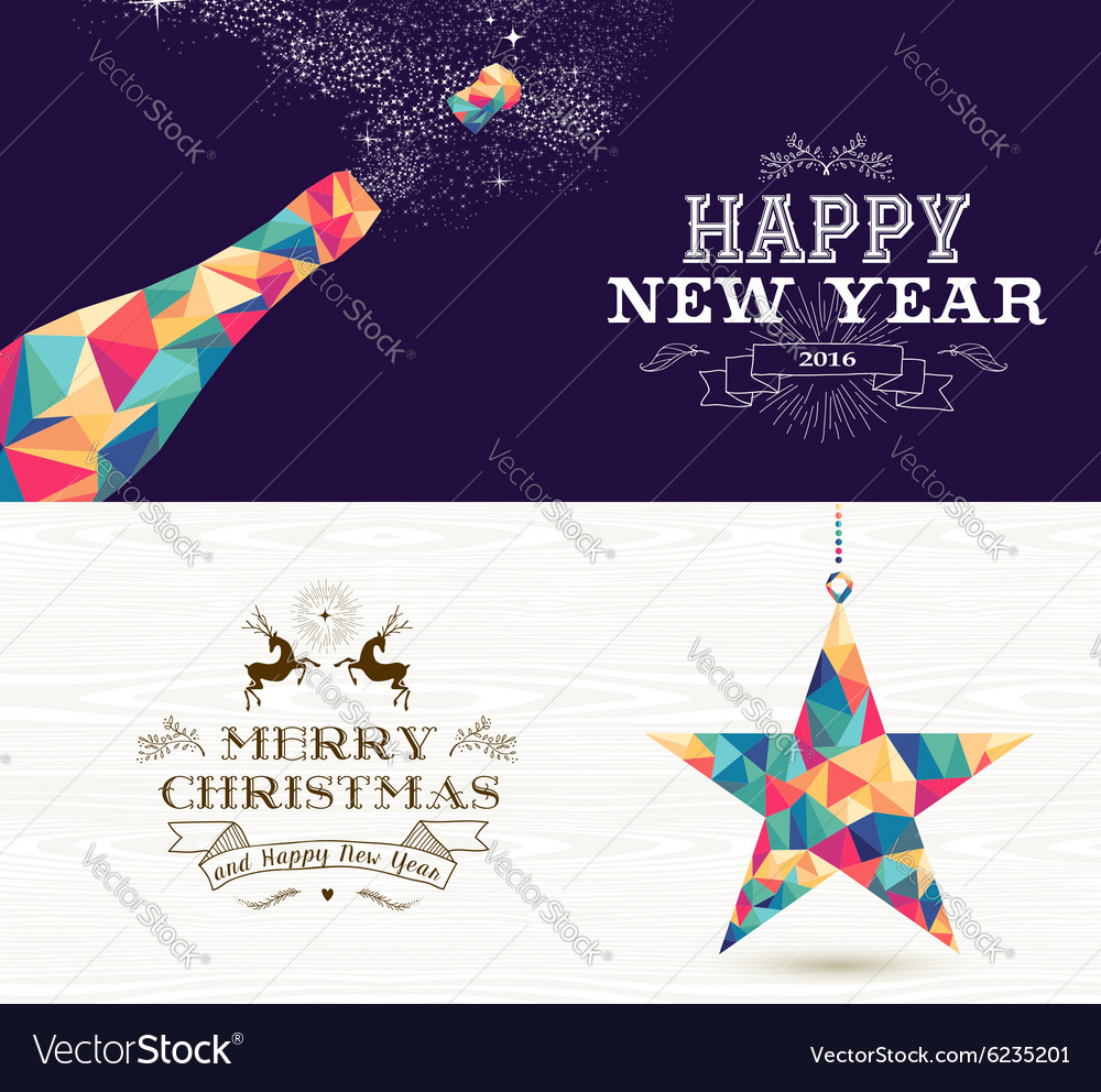 Happy new year 2015 Merry christmas bottle star Vector Image