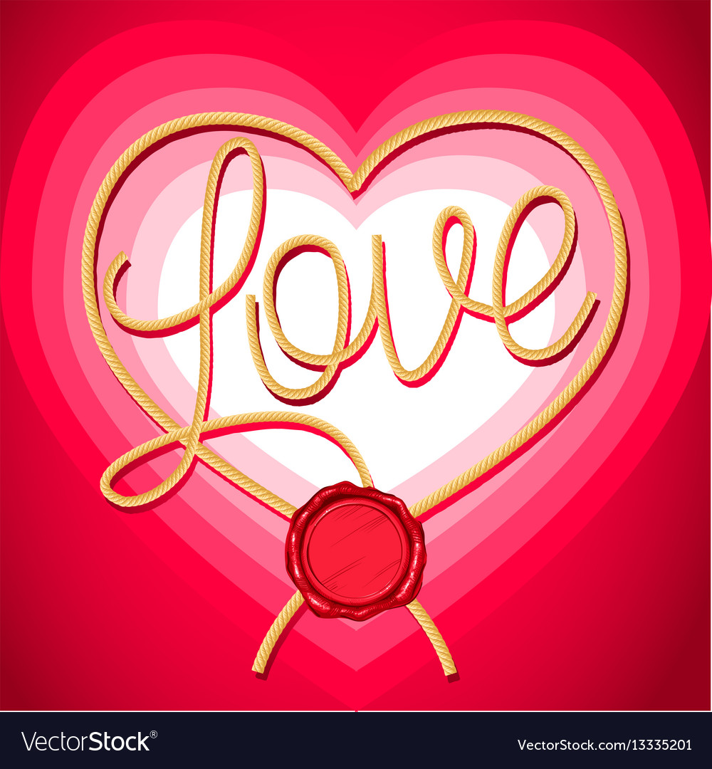 Heart and inscription love rope vector image