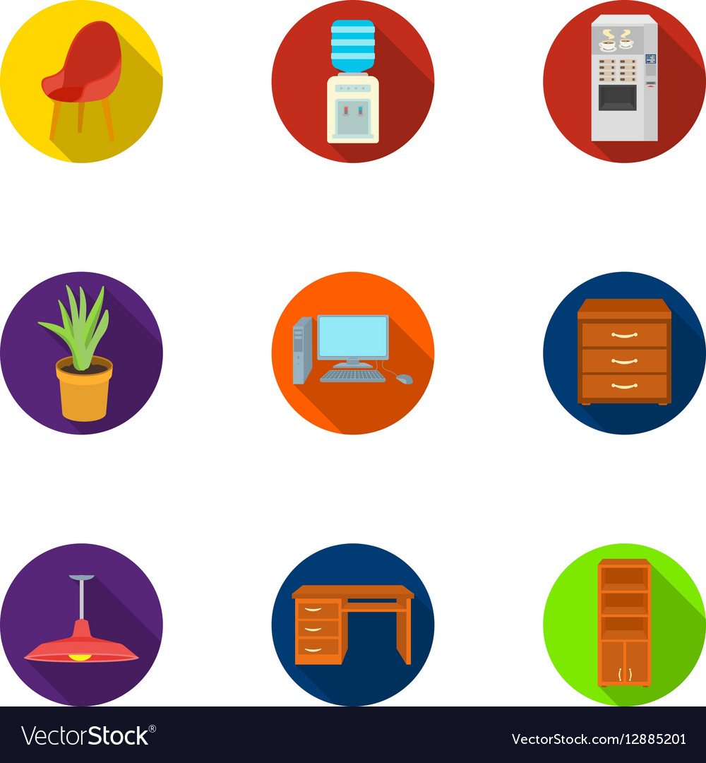 Office furniture and interior set icons in flat