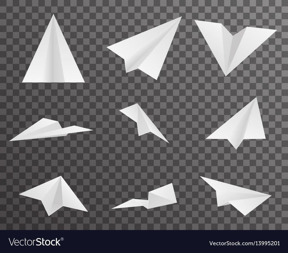 Origami paper airplanes icons set symbol