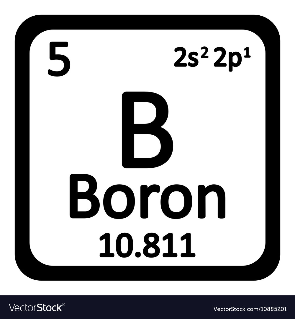 Periodic Table Element Boron Icon Royalty Free Vector Image