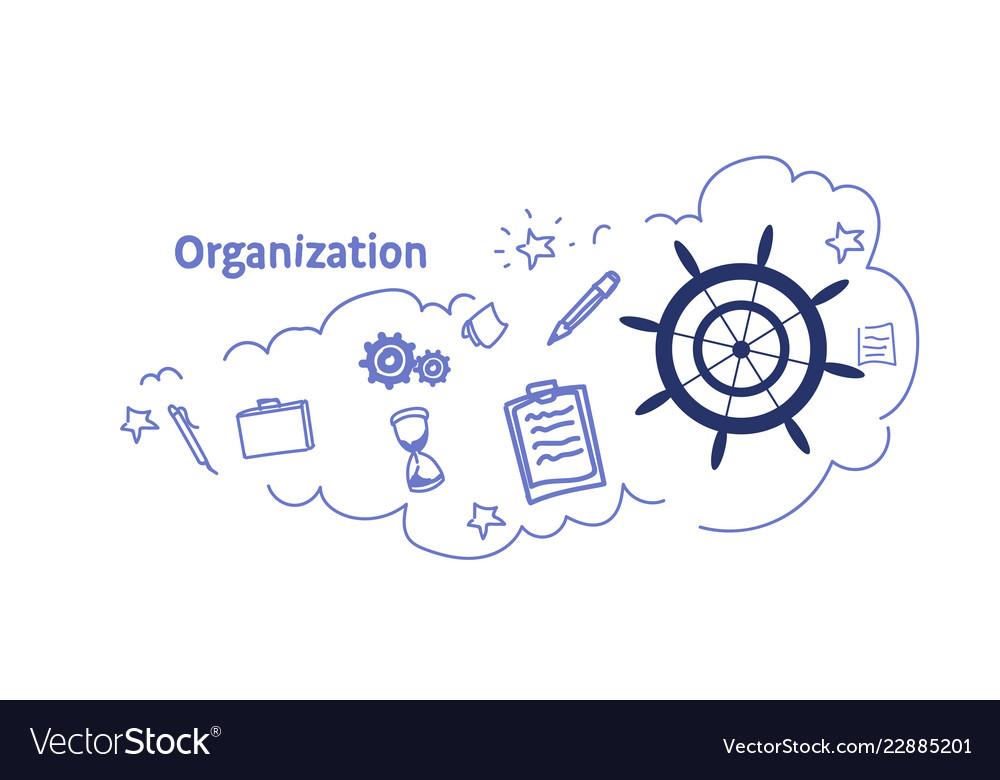Ship steering wheel organization concept sketch