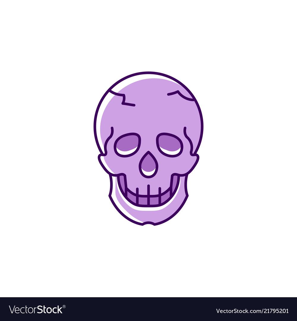 Skull icon colorful flat skull logo thin line