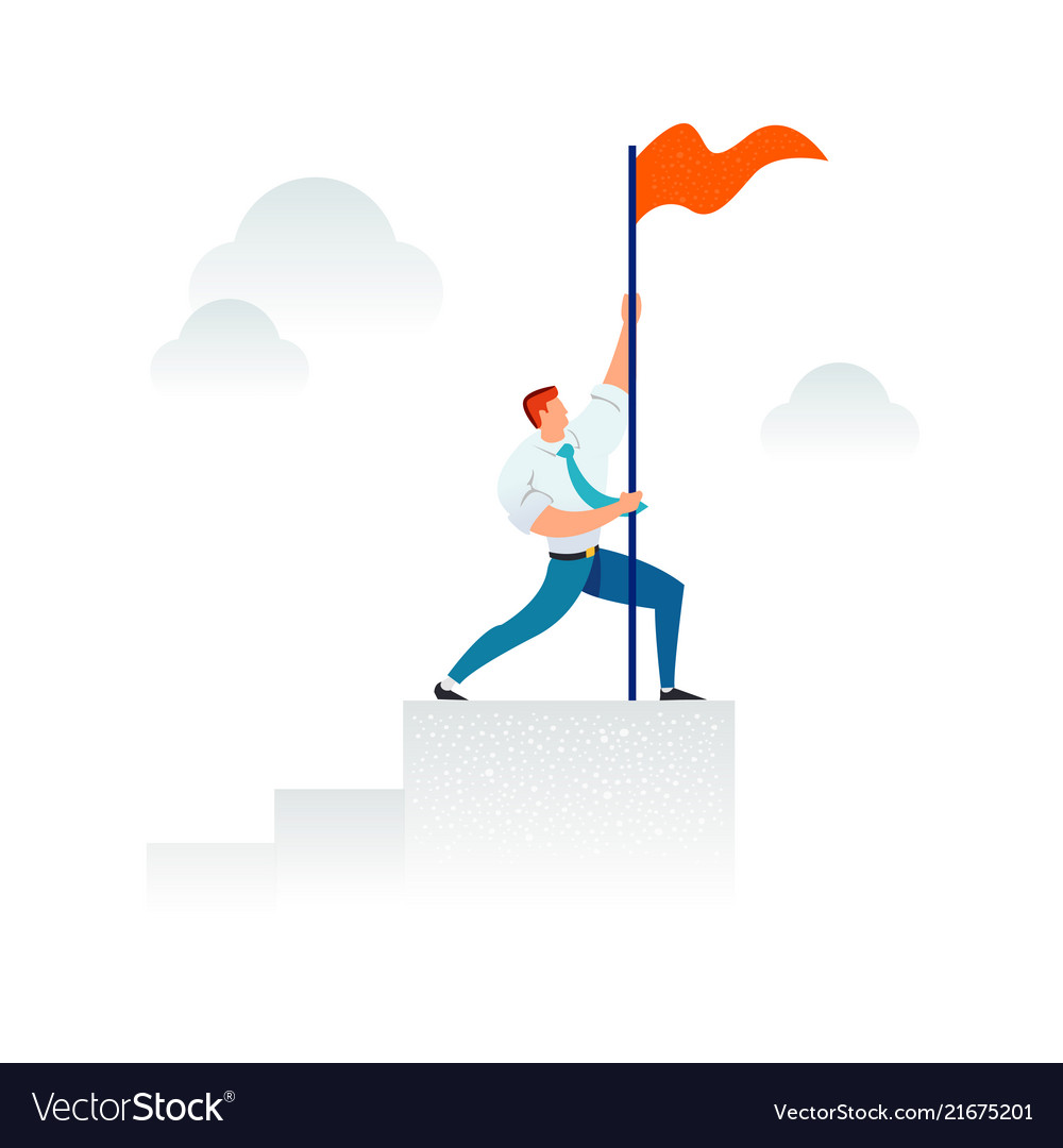 Strong businessman holding a red flag on top of