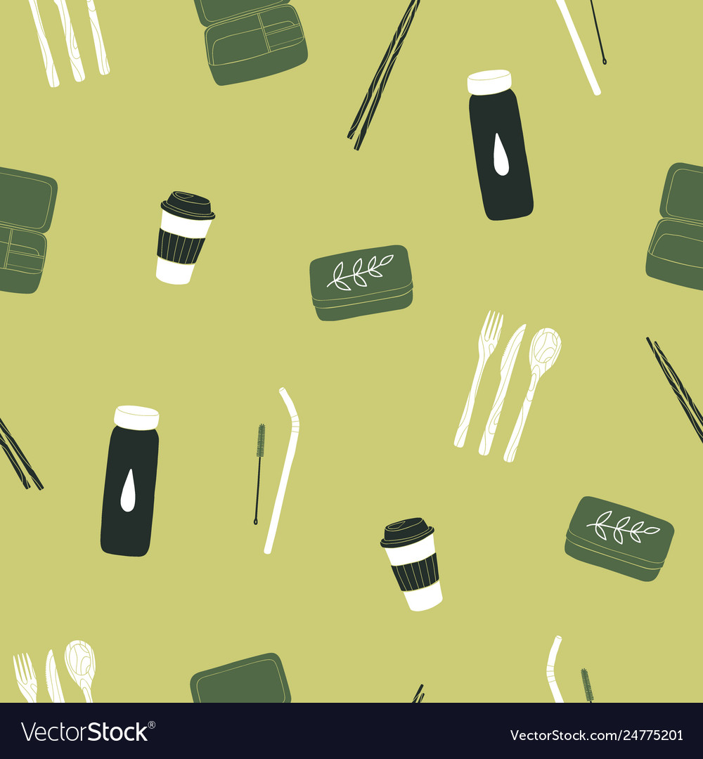 Zero waste items seamless pattern