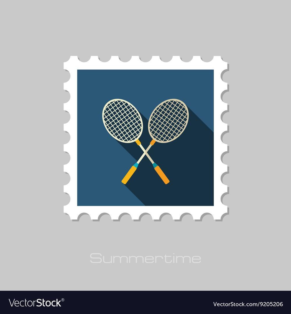 Badminton Racket flat stamp Summer Vacation