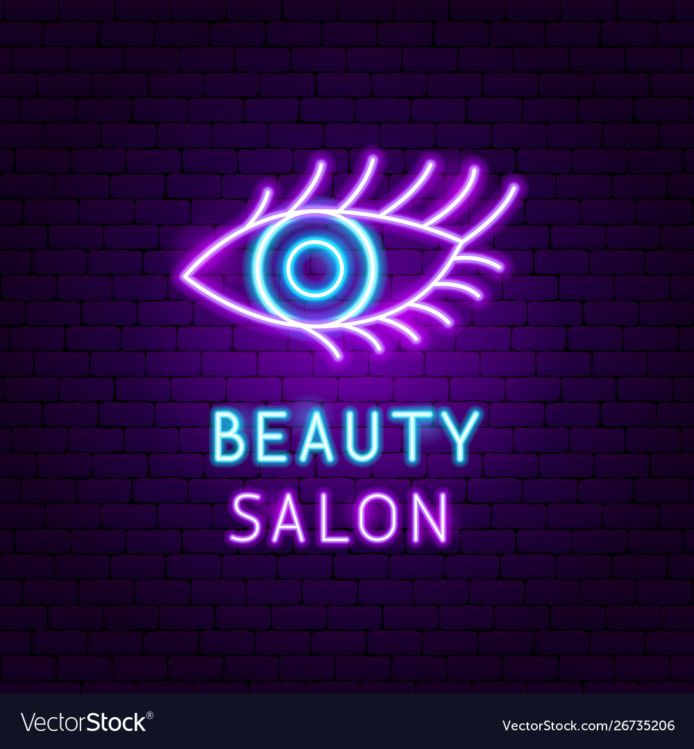 Beauty salon neon label
