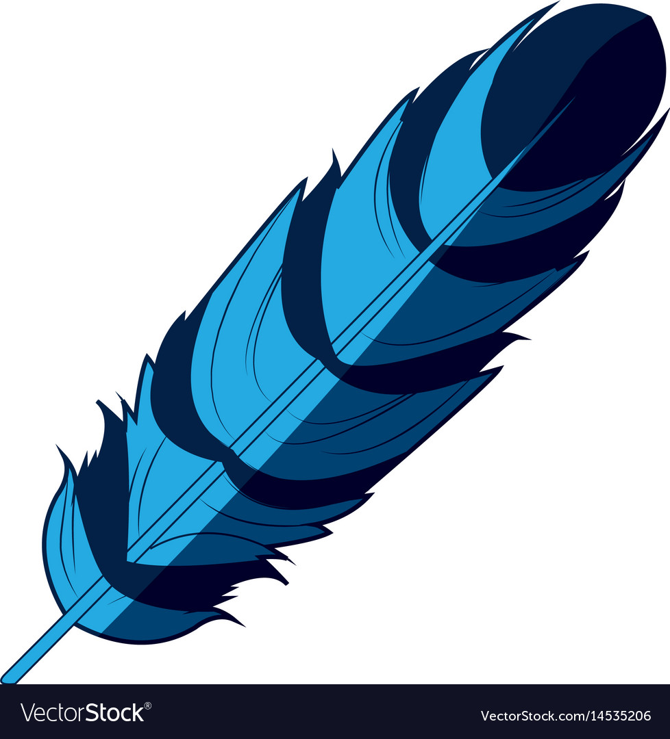 Blue feather free spirit rustic decoration vector image