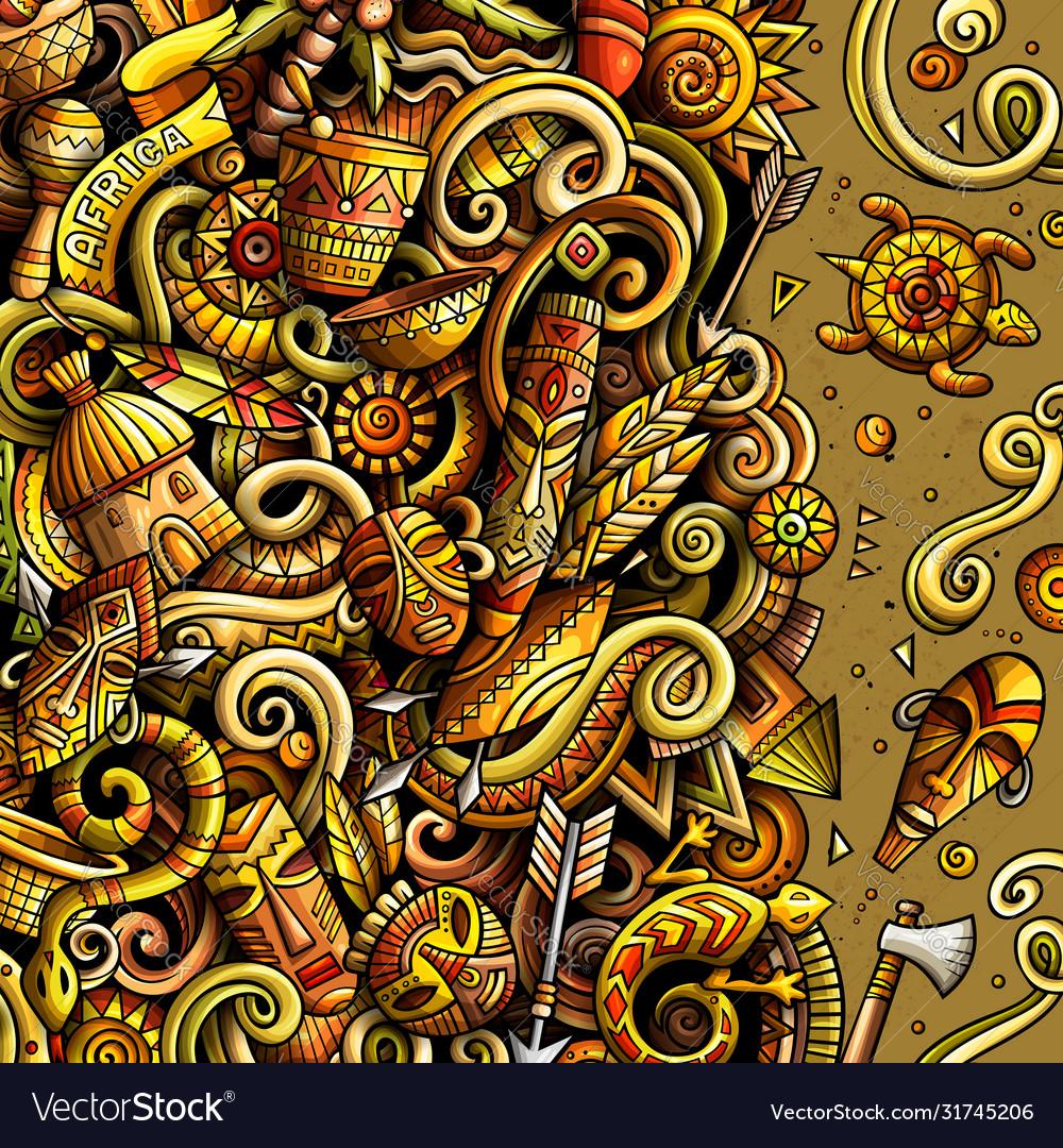 Cartoon doodles africa bright colors