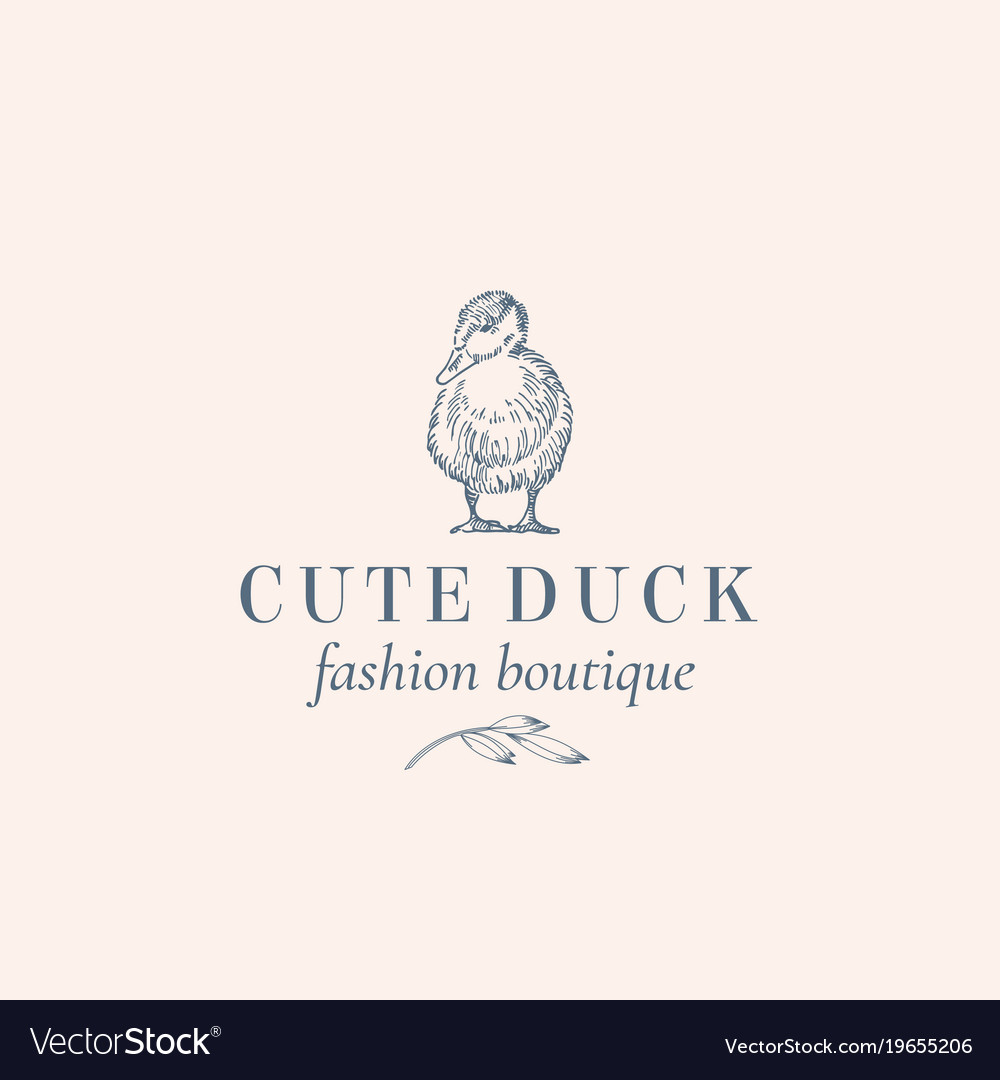 Cute duck abstract sign symbol or logo