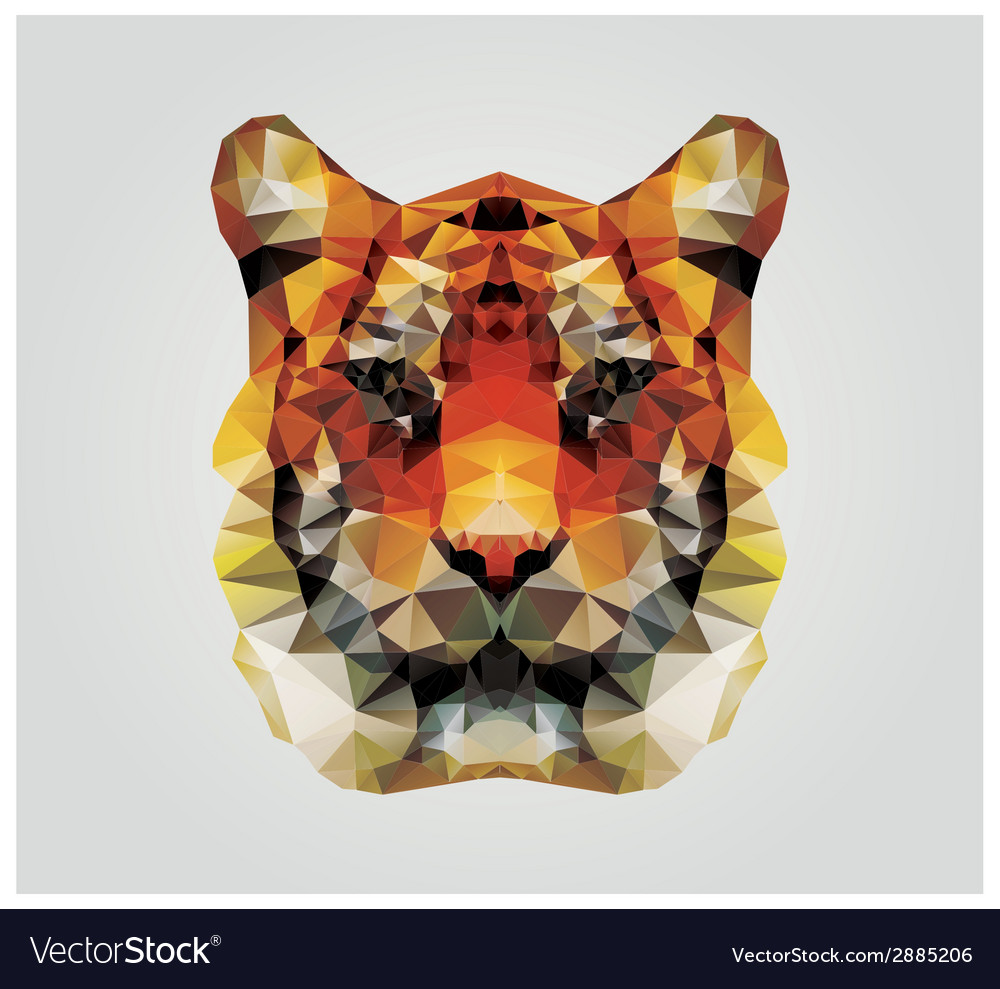 Geometric polygon tiger head triangle pattern