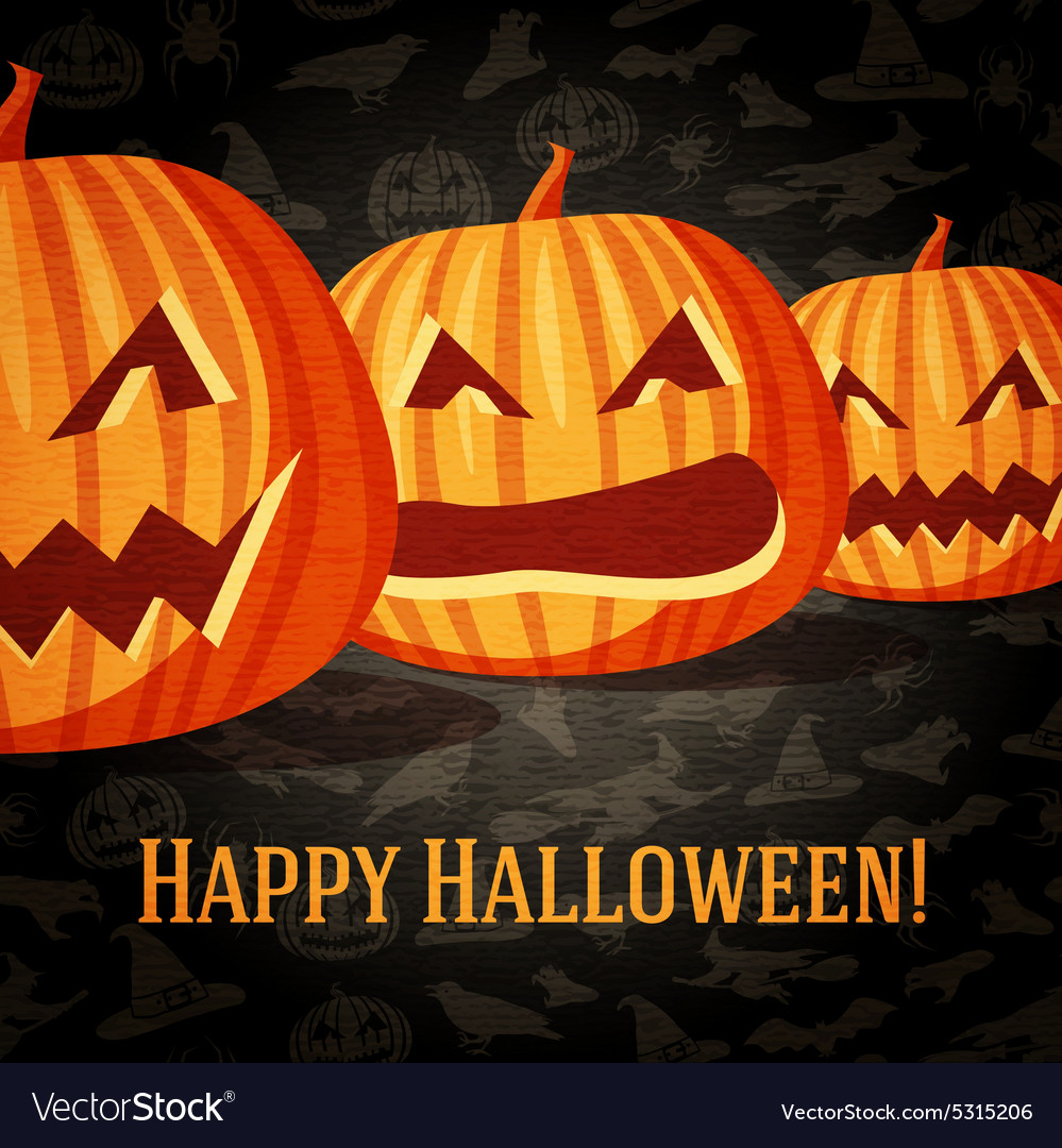Halloween greeting card with carved pumpkins vector image