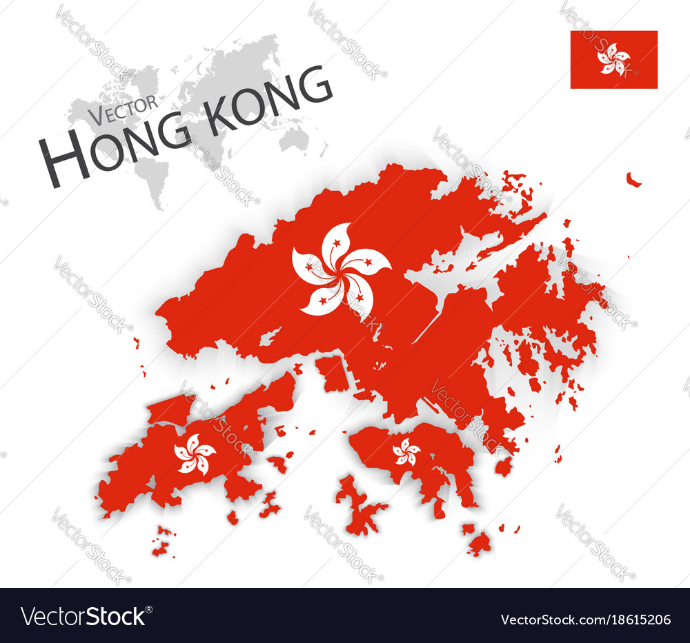 Hong Kong Flag Map Hong kong flag and map Royalty Free Vector Image